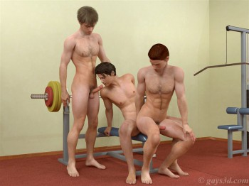 three 3d boys fucking in a gym