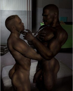 hunky 3d black and white gays